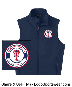 Blue Embroidered Fleece Vest Design Zoom